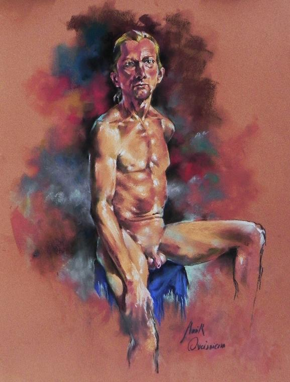 "Pastel on Sanded Card board, 19""x25"", Model: Carsten K."