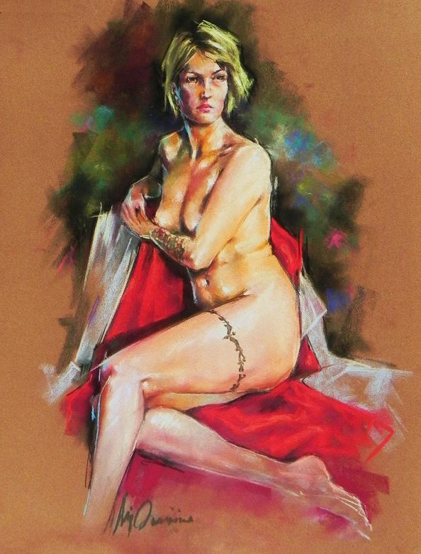 "Pastel on Sanded Card board 19""x25"", Model: Melanie"
